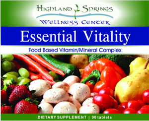 Highland Springs Essential Vitality 3-a-day blend - front label
